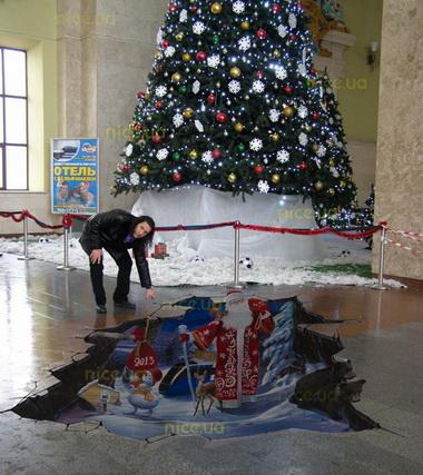 В помещении харьковского вокзала появились 3D-полы